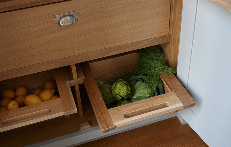 Pantry fruit and veg storage drawers in Esher kitchen