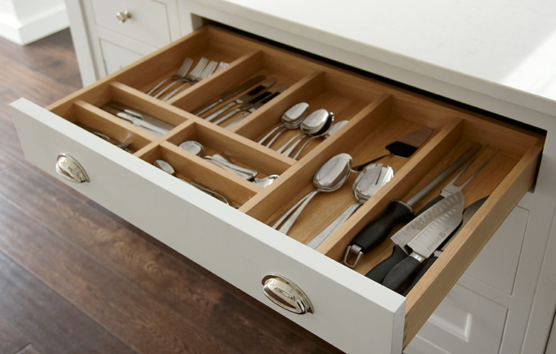 Bespoke cutlery kitchen drawer for SW London kitchen.