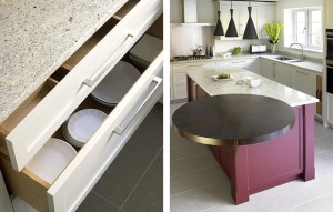 Shaker style kitchen with modern bold plum/red island and round veneer breakfast bar