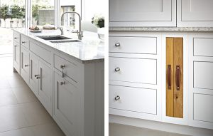 Surrey country kitchen cabinets in 'Lead V' Paint & Paper Library with Kashmir white granite worktops