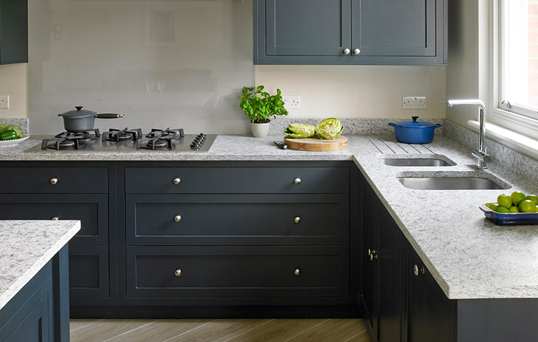 Blue gray bespoke kitchen cabinets Esher design