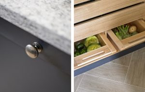 Close up of dark blue cupboard doors and pantry interior in light oak with vegetable drawers for Esher Kitchen