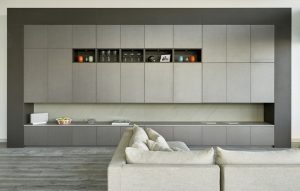 Media wall design for Wandsworth penthouse renovation in Urban Grey and Grigio surfaces by Xylocleaf