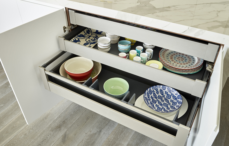 Kitchen storage cabinet design for modern penthouse apartment in Wandsworth