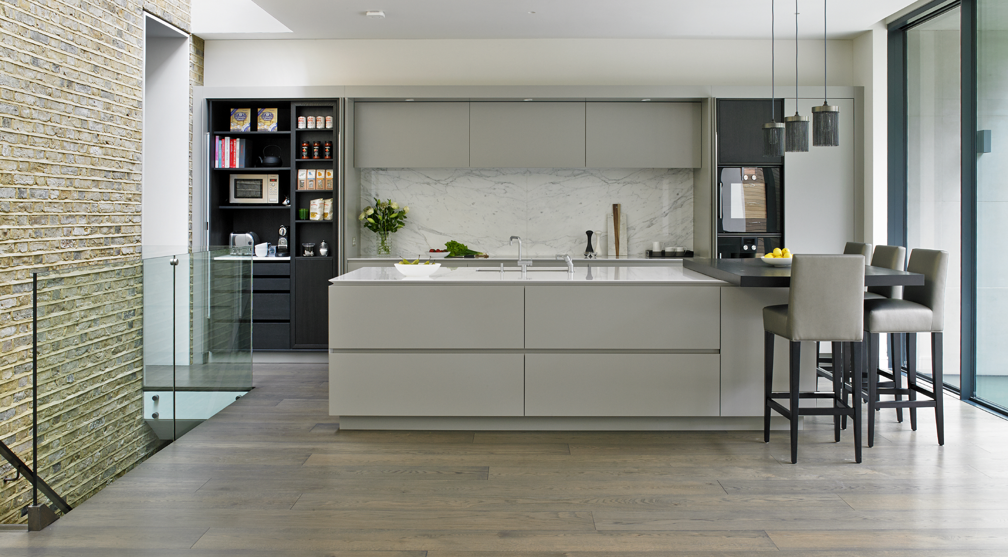 Victorian family kitchen Wandsworth - breakfast cupboard, island and bespoke cabinets