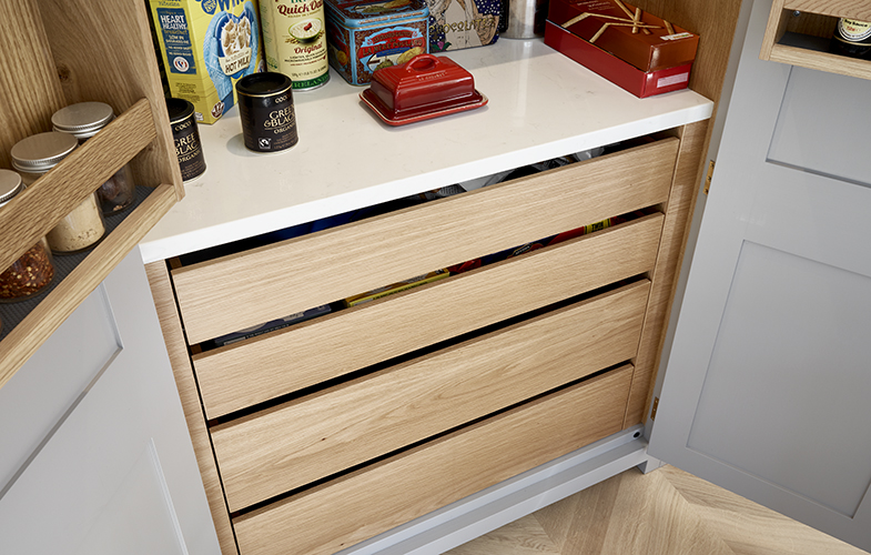 Pantry cupboard for Surbiton kitchen design with American white oak interior