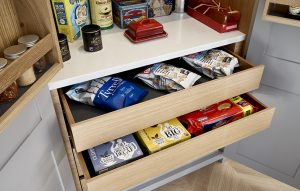 Grey and light oak pantry cupboard interior for Surbiton Kitchen