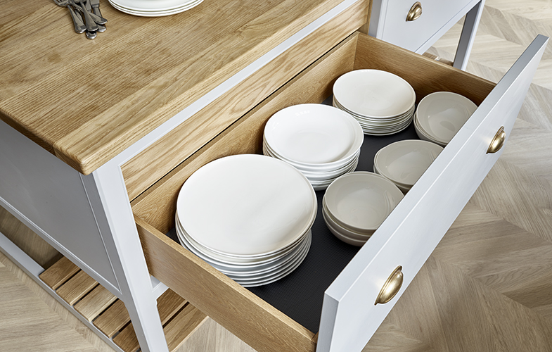 Deep storage drawers for Surbiton kitchen island with American white oak interior