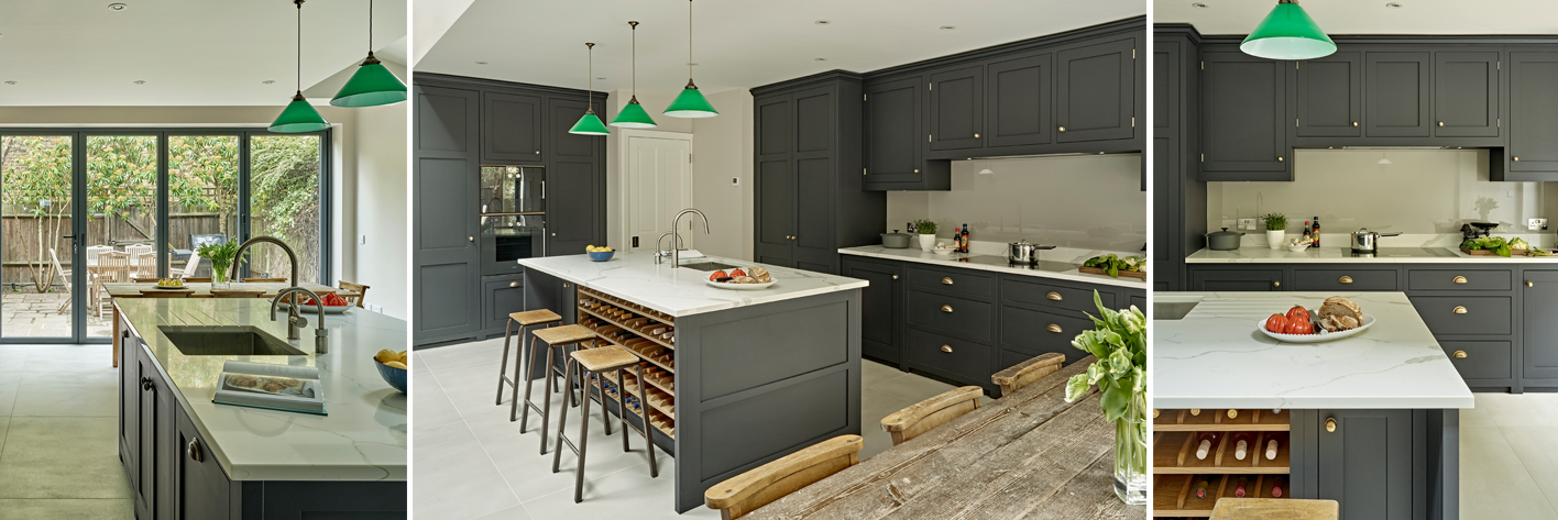 Dark grey country kitchen by Brayer Design