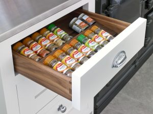 Spice drawer - two-tier bespoke spice rack drawer design for Felsted large country kitchen