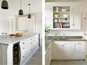 Super White Quartzite island worktop with stainless steel countertops - white felsted kitchen