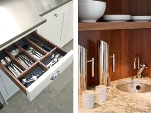 Cutlery drawer and breakfast cupboard interior for Felsted white country kitchen design