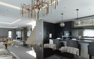 Chelsea penthouse open plan kitchen design with breakfast bar, custom-made seating and mirror splashback