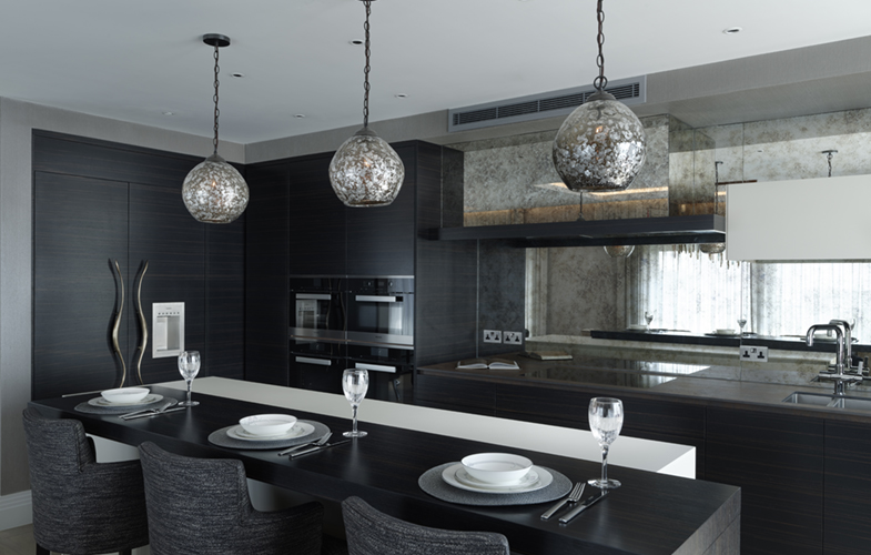 Modern Chelsea Apartment Luxury Kitchen Design with custom made bar stools and breakfast bar