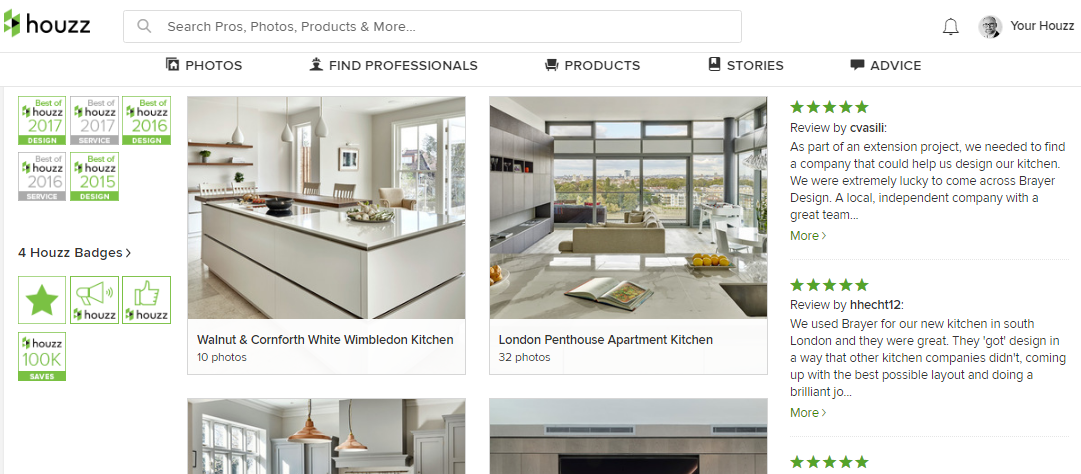 Brayer Design Houzz Profile with 5 Awards in Design & Service
