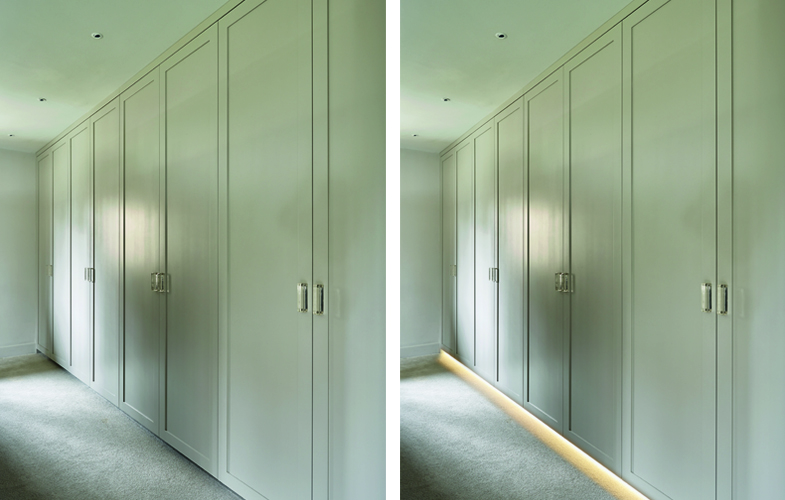 Neutral bespoke fitted wardrobe design and installation with under cabinet lighting
