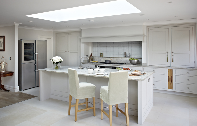 Surrey country kitchen - summer kitchens with skylight, bright tiles, walls and worktops