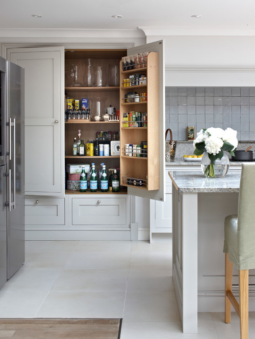 Surrey country kitchen with large pantry cabinet