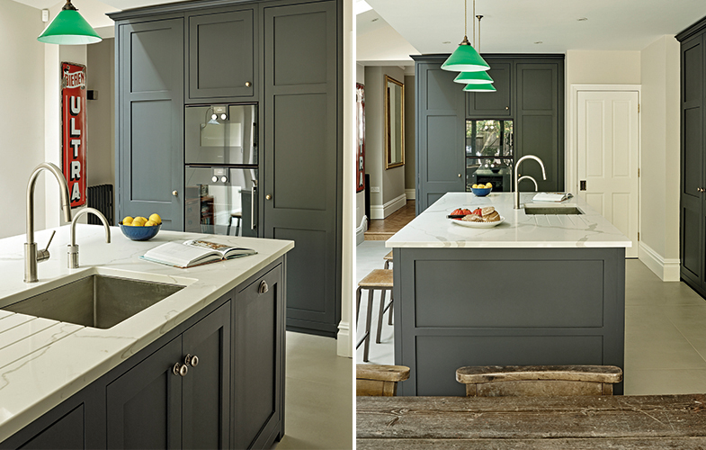 Grey Black Kitchen Island with integrated sink and Quooker tap, green pendant lighting and Calacatta marble-effect worksurface