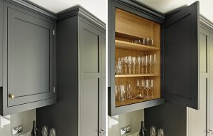 Battersea traditional country kitchen cabinet design handpainted in charcoal shade with light oak interiors