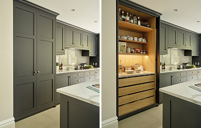 Pantry Cupboard for Dark Kitchen Battersea with oak interior