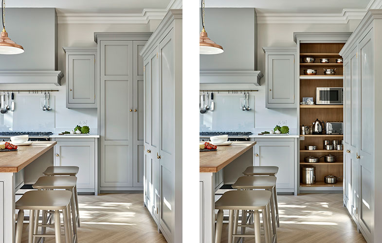 Grey exterior and wood interior of Surbiton Kitchen Cabinets
