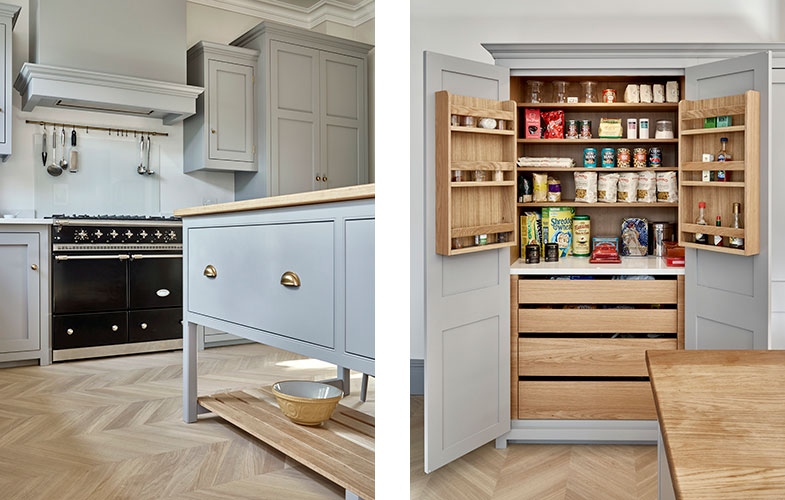 Bespoke kitchen island, kitchen cabinets and pantry cupboard design for Surbiton grey kitchen